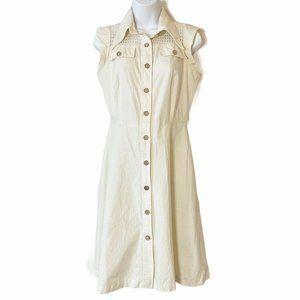 1970s Vintage Cotton Dress Button Front Crochet S